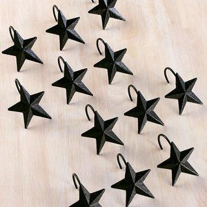 Metal Primitive Barn Star Shower Curtain Hooks